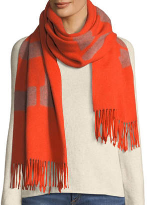 Rag & Bone Fringed Wool Graphic Scarf