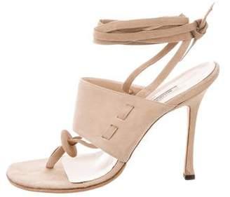 Manolo Blahnik Lace-Up Suede Sandals