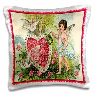 3dRose Cupid Water a Heart of Roses (Mosaic and Vintage), Pillow Case, 16 by 16-inch