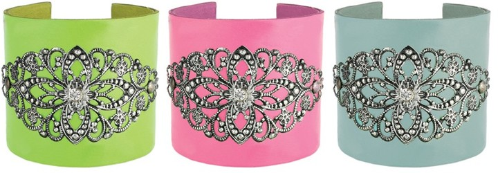 Z Designs Leather Cuff Bracelet with Accent
