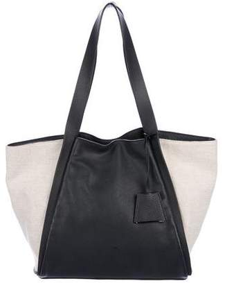 Akris Grained Leather & Canvas Tote