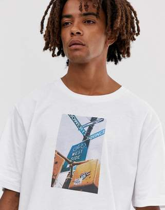 Brooklyn Supply Co. Brooklyn Supply Co drop shoulder oversized t-shirt with NYC print in white