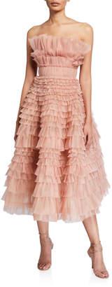 J. Mendel Silk Strapless Tiered Gown