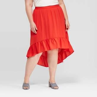 Ava & Viv Women's Plus Size High Low Ruffle Skirt - Ava & VivTM Red