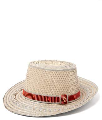 Yosuzi Juan Striped Straw Hat - Mens - Beige