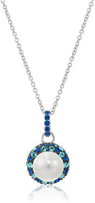 Crystal Pearl Platinum Plated Sterling Silver Swarovski with Swarovski Blue Crystal Pendant Necklace