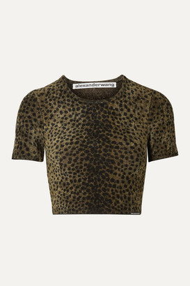 Alexander Wang Cropped Animal-print Chenille Top - Army green