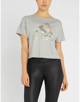a07266db25bd6 adidas Metallic logo-print cropped stretch-jersey T-shirt