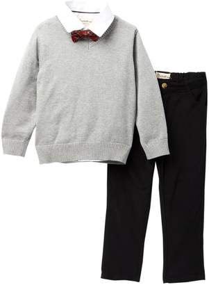 Beetle & Thread Poplin Shirt, V-Neck Sweater, & Pants (Toddler & Little Boys)