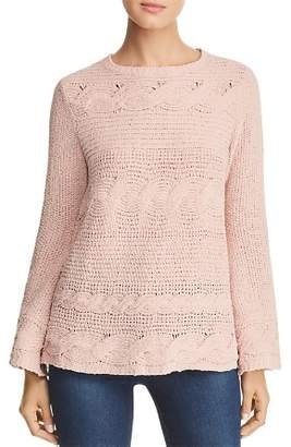 Heather B Chenille Cable-Knit Sweater