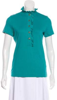Tory Burch Short Sleeve Button-Up T-Shirt