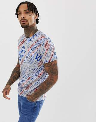 Versace t-shirt in grey with all over retro logo print