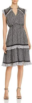 Kate Spade Plains Ditsy Ruffled Tiered Dress