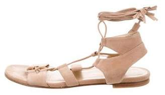 Stuart Weitzman Suede Lace-Up Roman Sandals