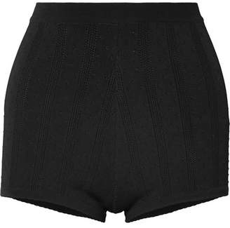 Marc Jacobs Embroidered Stretch-knit Shorts - Black