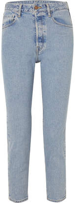 Bassike Cropped High-rise Slim-leg Jeans - Mid denim