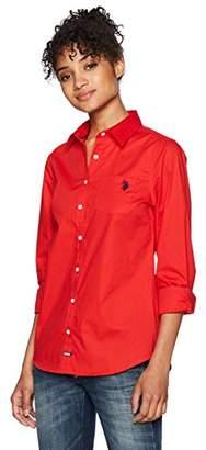 U.S. Polo Assn. Women's Long Sleeve Solid Poplin Shirt