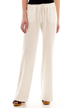 BY AND BY by&by Solid Smocked-Waist Linen Wide-Leg Pants $52 thestylecure.com