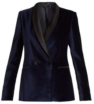 Stella McCartney Double Breasted Velvet Jacket - Womens - Navy