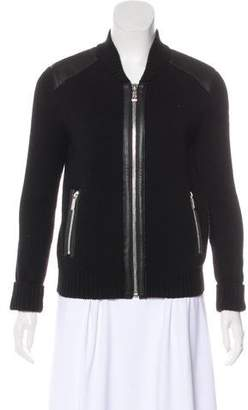 Barbara Bui Leather-Trimmed Wool Jacket