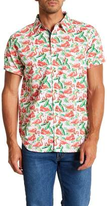 Straight Faded Flamingo Short Sleeve Modern Fit Shirt