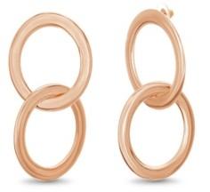 Catherine Malandrino Women's Interlocking Circle Rose Gold-Tone Hoop Earrings