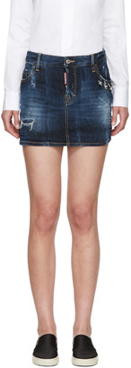 Dsquared2 Blue Denim Barbell Ring Skirt $495 thestylecure.com