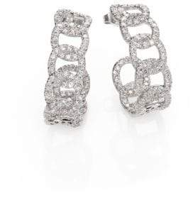 Roberto Coin Diamond& 18K White Gold Link J-Hoop Earrings