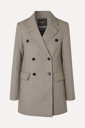 Maje Goldi Double-breasted Houndstooth Tweed Blazer - Brown