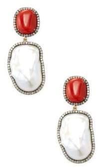 Silver, Pearl & Champagne Diamond Drop Earrings