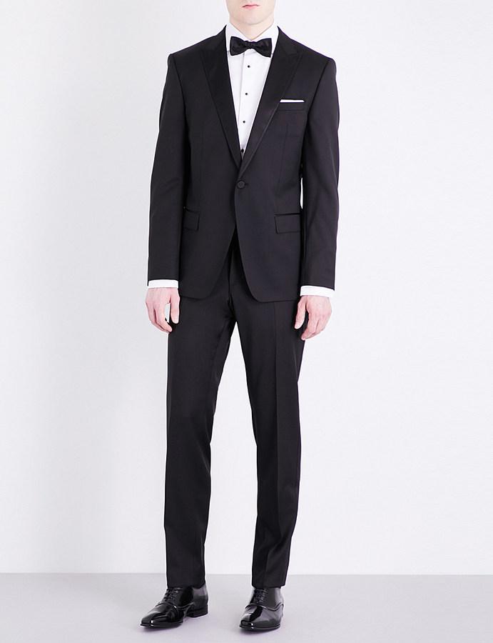 Hugo BossHugo Boss Silk-detail peak-lapel slim-fit wool suit