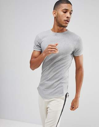 Bellfield Waffle T-Shirt In Muscle Fit With Curved Hem