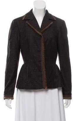 Alberta Ferretti Fur-Trimmed Wool Jacket
