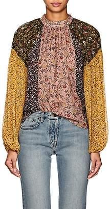 Ulla Johnson Women's Ora Floral Swiss Dot Silk-Blend Blouse