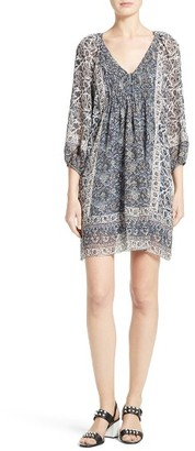 Women's Joie 'Foxley' Floral Print Silk Peasant Dress $388 thestylecure.com