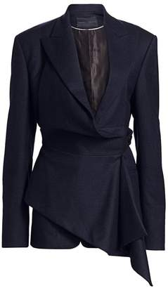 Proenza Schouler Draped Plaid Flannel Blazer