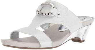 Anne Klein Women's Teela Wedge Sandal, White Synthetic