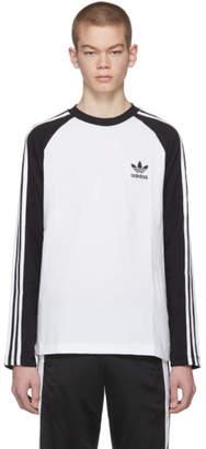 adidas Black and White Long Sleeve 3-Stripes T-Shirt
