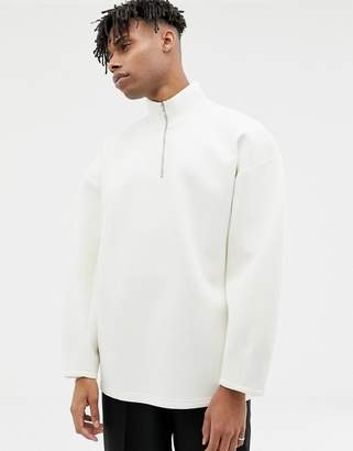 Asos balloon sweatshirt in white scuba with zip neck