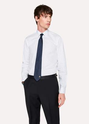 Paul Smith Men's Tailored-Fit White 'Wine Glass' Print Cotton 'Artist Stripe' Cuff Shirt