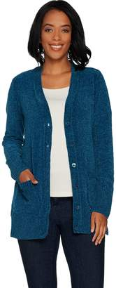 Isaac Mizrahi Live! Chenille Long Sleeve Button Front Cardigan