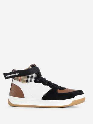 f82a4851573a Burberry WOMEN'S CAMEL LEATHER AND SUEDE HIGH-TOP SNEAKERS