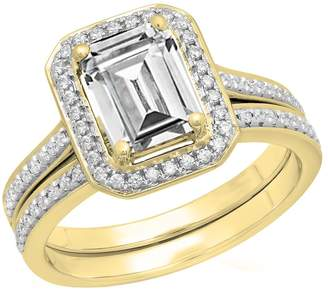DazzlingRock Collection 10K Yellow Gold Emerald & Round Cut Cubic Zirconia Ladies Engagement Ring Set (Size 7.5)