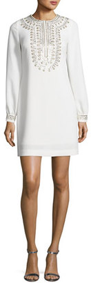 Trina Turk Embroidered Crepe Shift Dress, Whitewash $368 thestylecure.com
