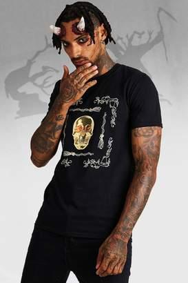 boohoo Halloween Baroque Skull Print T-Shirt