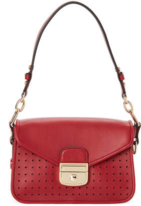 Longchamp Red Mademoiselle Perforated Crossbody