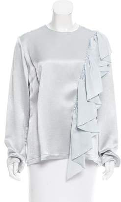 Tome Satin Ruffle-Trimmed Top w/ Tags