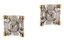 Diamonique 0.50 ct tw Asscher Stud Earrings, 14K Gold