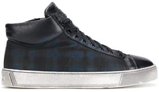 Santoni checked hi-top sneakers