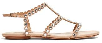 Aquazzura Tequila Crystal Embellished T Bar Leather Sandals - Womens - Nude